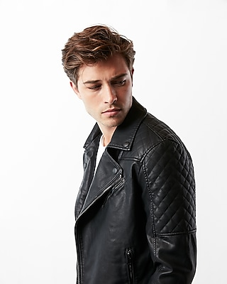Express Mens (Minus The) Leather Quilted Asymmetrical Moto Jacket