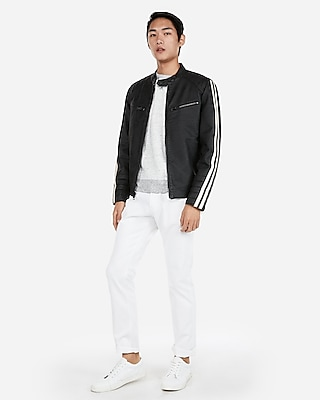 Express Mens Faux Leather Stripe Sleeve Biker Jacket