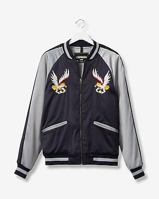 Express Mens Embroidered Eagle Souvenir Bomber Jacket