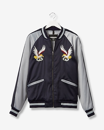 embroidered eagle souvenir bomber jacket