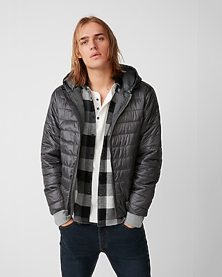 Express Mens Hooded Bomber Puffer Coat
