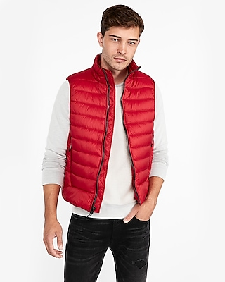 Express Mens Nylon Puffer Vest Red Men's Xs Red XS