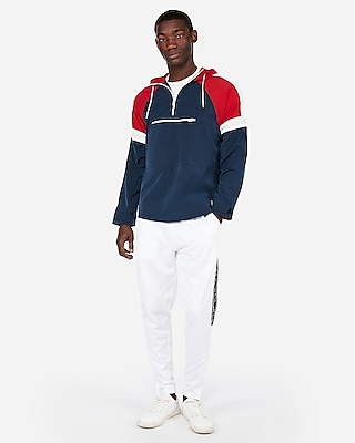 Express Mens Nylon Water-Resistant Color Block Hooded Jacket