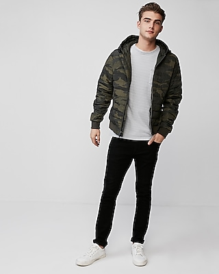 Express Mens Camo Hooded Puffer Coat