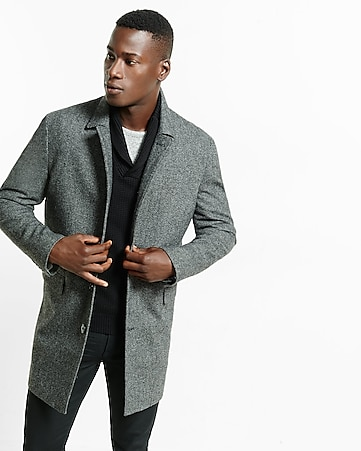 wool blend donegal tweed topcoat