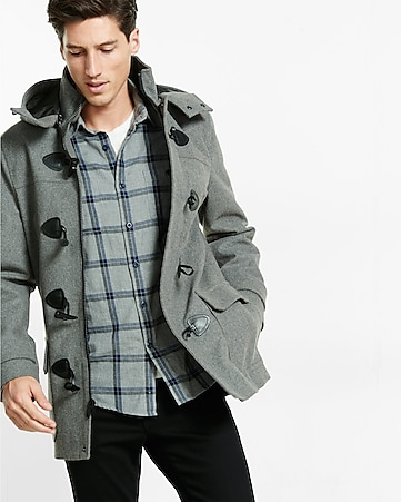 wool blend toggle coat