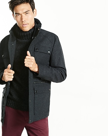wool blend four-pocket military coat