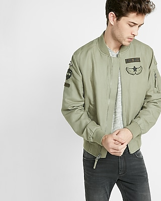Express Mens Express Mens Embroidered Patch Linen-Blend Bomber Jacket Neutral X Small