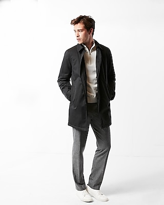 Express Mens Solid Trench Coat