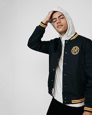 Express Mens Ribbed Trim Logo Patch Bomber Jacket