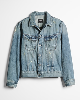 Express Mens Distressed Denim Trucker Jacket