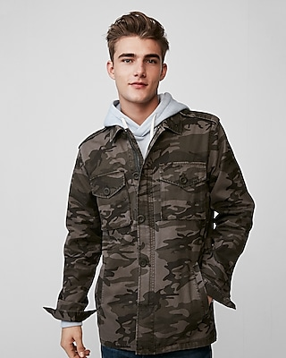 Express Mens Camo Cotton Shirt Jacket