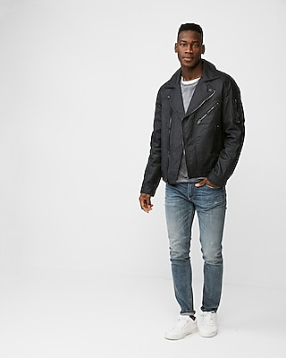 Express Mens Waxy Cotton Water-Resistant Moto Jacket