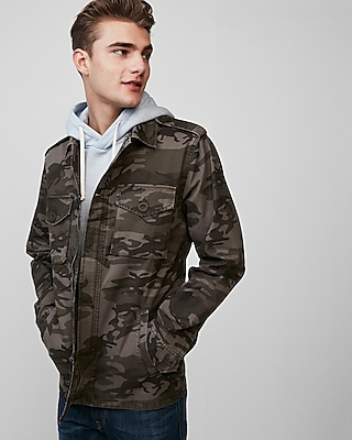 Express Mens Button Front Camo Shirt Jacket