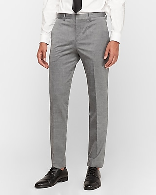Express Mens Slim Gray Wool Blend Oxford Suit Pant