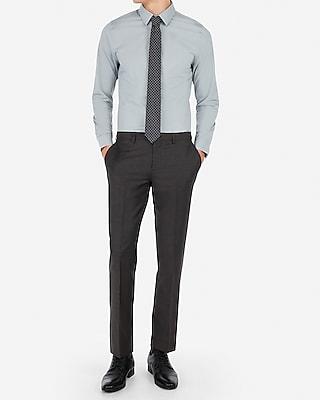 Express Mens Slim Charcoal Wool-Blend Stretch Suit Pants