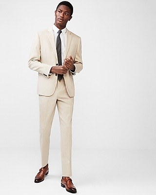 Express Mens Slim Khaki Wool-Linen Blend Suit Pant