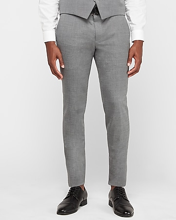 skinny innovator gray wool blend oxford suit pant
