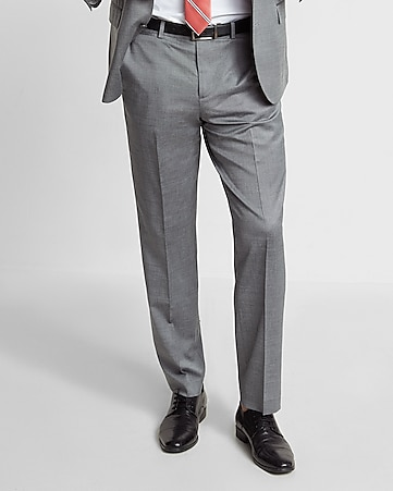 modern producer gray wool blend oxford suit pant
