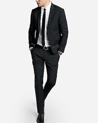 Express Extra Slim Black Performance Stretch Wool-Blend Suit Pants
