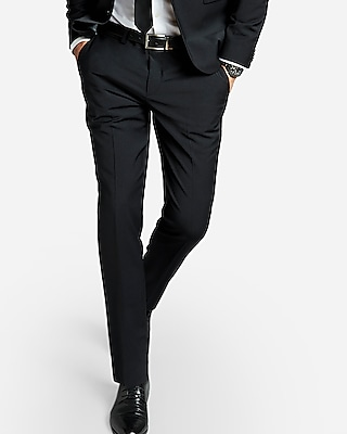 Express Mens Express Mens Extra Slim Black Performance Stretch Wool-Blend Suit Pant