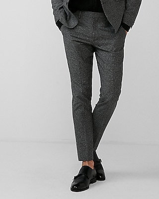 Express Mens Extra Slim Gray Donegal Wool-Blend Suit Pant