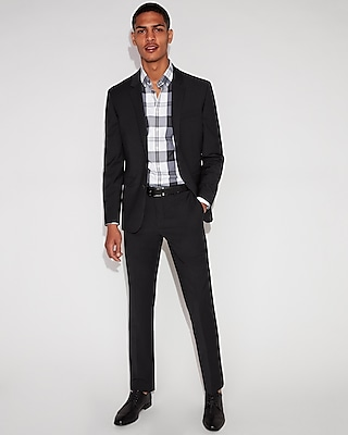 Express Mens Extra Slim Performance Stretch Wool-Blend Check Suit Pants Black Men's W36 L36 Black W36 L36