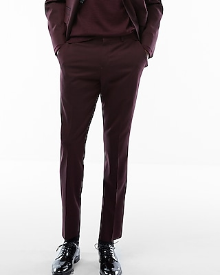 Express Mens Slim Burgundy Oxford Suit Pant