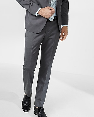 Express Mens Slim Dark Gray Oxford Suit Pant
