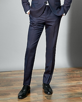 Express Mens Slim Blue And Burgundy Textured Suit Pant