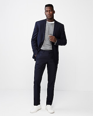 Express Mens Slim Double Stripe Wool Blend Suit Pant