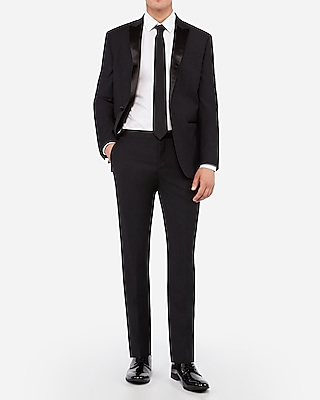 Express Mens Slim Black Performance Stretch Wool Blend Tuxedo Pant