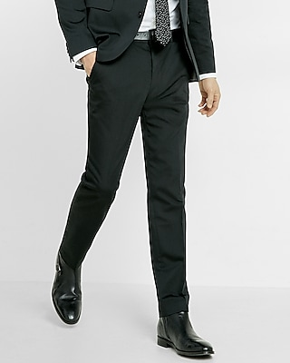 Express Mens Extra Slim Black Cotton Sateen Suit Pant
