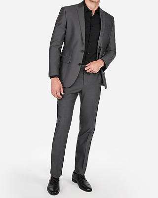 Express Mens Classic Charcoal Gray Oxford Cotton Suit Pants