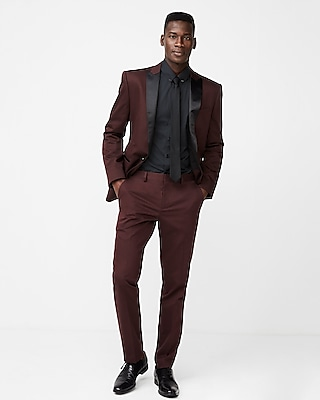 Express Mens Slim Burgundy Cotton Sateen Suit Pant