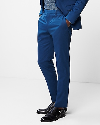 Express Mens Extra Slim Blue Cotton Sateen Stretch Suit Pants