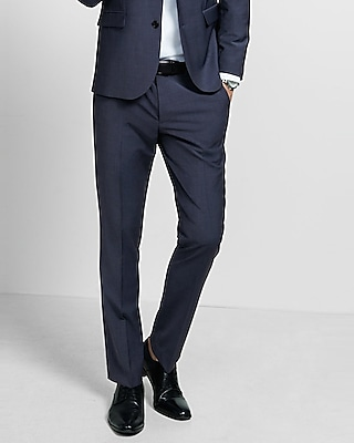 Express Mens Express Mens Extra Slim Navy Blue Performance Stretch Wool-Blend Suit Pan