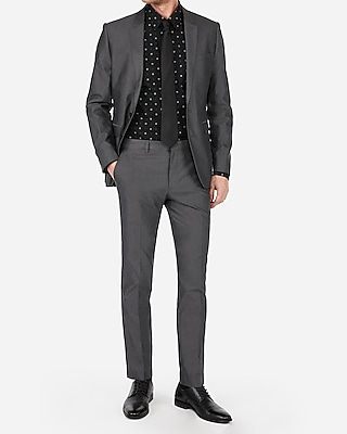 Express Mens Extra Slim Charcoal Cotton Oxford Suit Pants