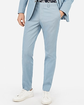 Express Mens Extra Slim Light Blue Stretch Suit Pants