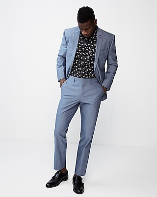 Express Mens Slim Blue Chambray Suit Pant