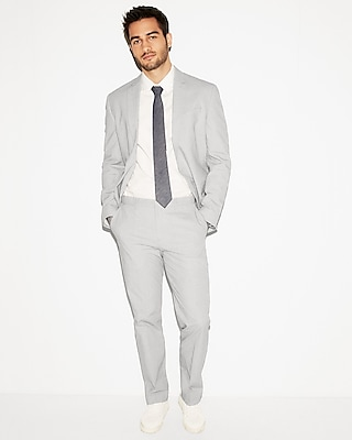 Express Mens Classic Light Gray Cotton Pindot Suit Pant