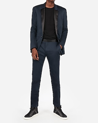 Express Mens Extra Slim Navy Cotton Sateen Satin Accent Tuxedo Pant