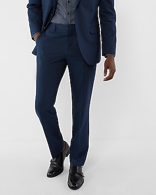 Express Mens Classic Navy Microdot Cotton Suit Pant