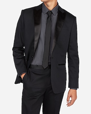 Express Mens Classic Black Cotton Sateen Tuxedo Jacket