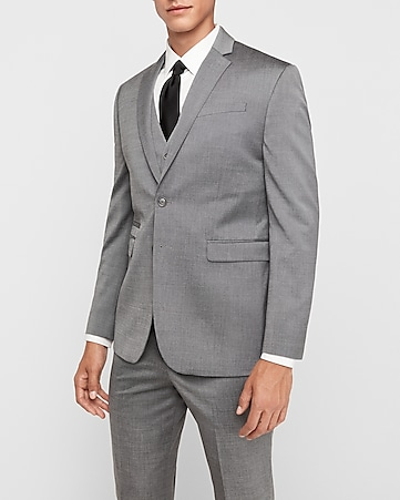 slim photographer gray wool blend oxford suit jacket