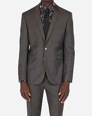 Express Mens Extra Slim Charcoal Gray Wool-Blend Stretch Suit Jacket