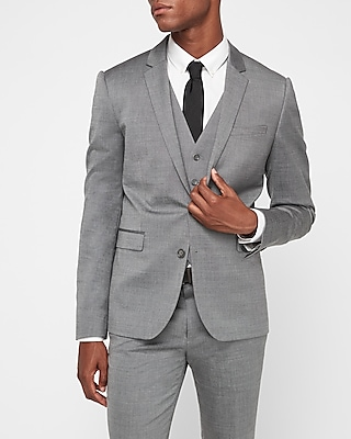 Express Mens Extra Slim Gray Wool Blend Oxford Suit Jacket