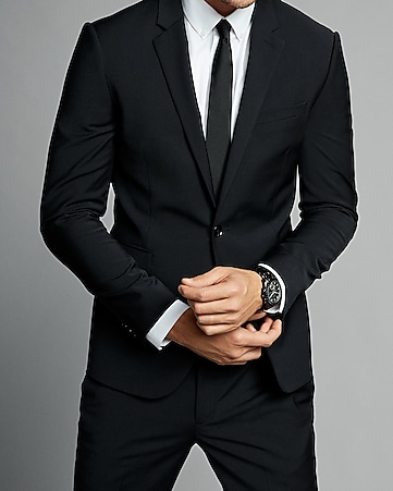 skinny innovator black performance stretch wool blend suit jacket