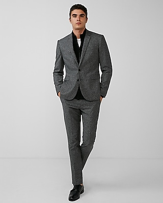 Express Mens Extra Slim Gray Donegal Wool-Blend Suit Jacket