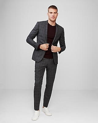 Express Mens Extra Slim Fit Plaid Wool Suit Jacket